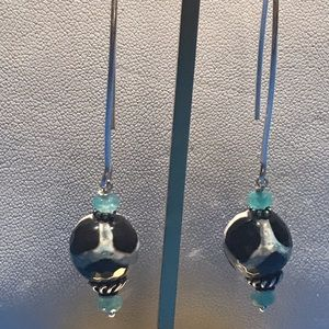 Jewelry - Black and Turquoise Silver Drop Earrings